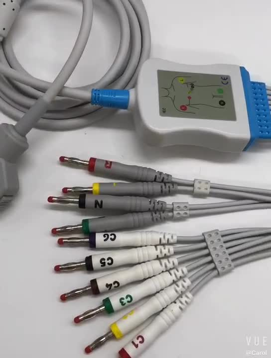 Wholesale China one piece 10 lead ecg cable mindray schiller ekg cable ekg for Fukuda Denshi FX101,FX102F,FX328U,FXCP2201