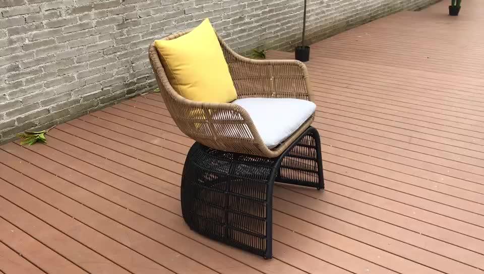 luxury high quality outdoor waterproof rattan wicker armrest modern hotel dining chair