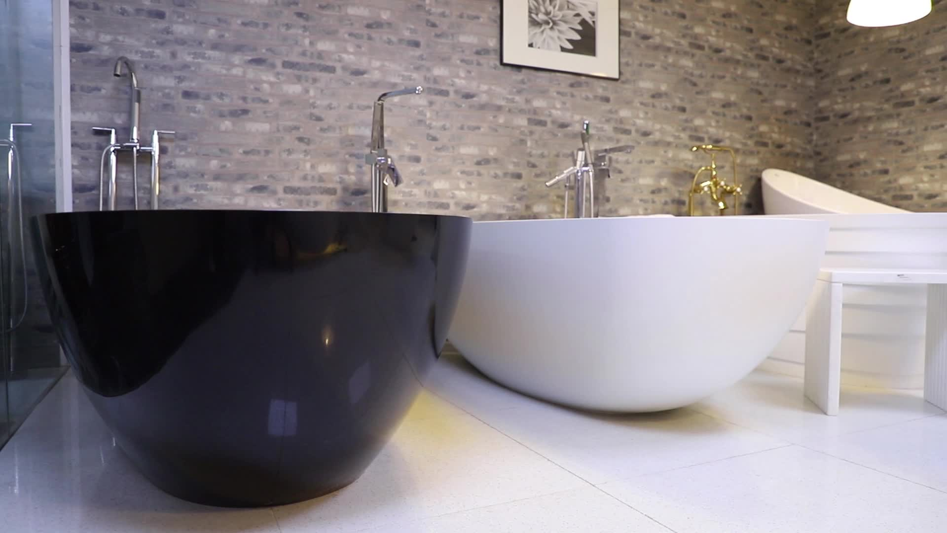 KKR ยี่ห้อใหม่สีดำอ่างอาบน้ำ Freestanding รูปไข่ Stand Alone อะคริลิค Solid Surface Bath Tub