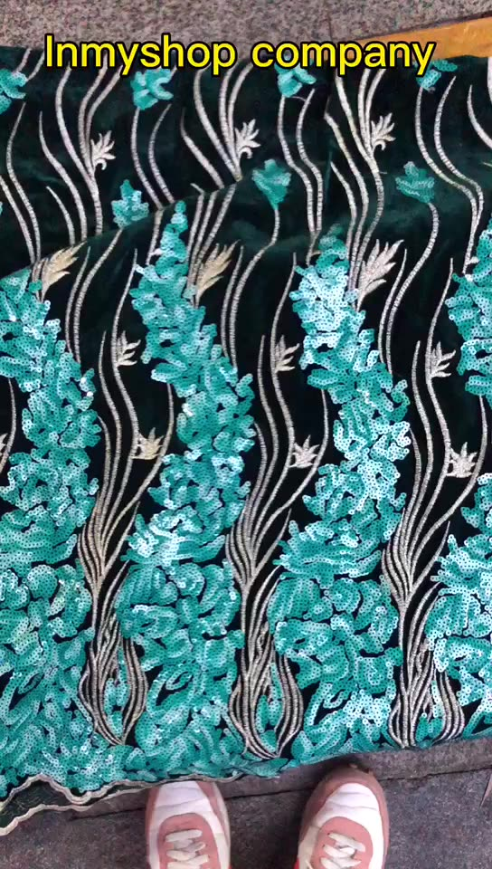 Renda African Kain 2021 Hijau Afrika 3d Bunga Bordir Afrika 3d Bunga Bordir Vefrench Lace Fabric untuk Wedding Dress