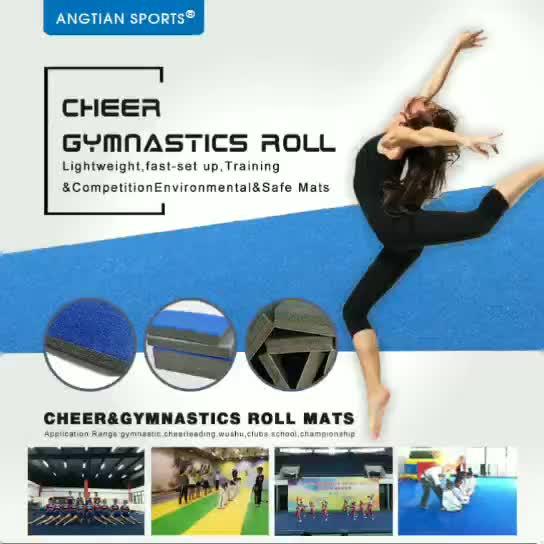 Migliore qualità concorrenza tappeto blu cheer stuoie ginnastica artistica per la casa