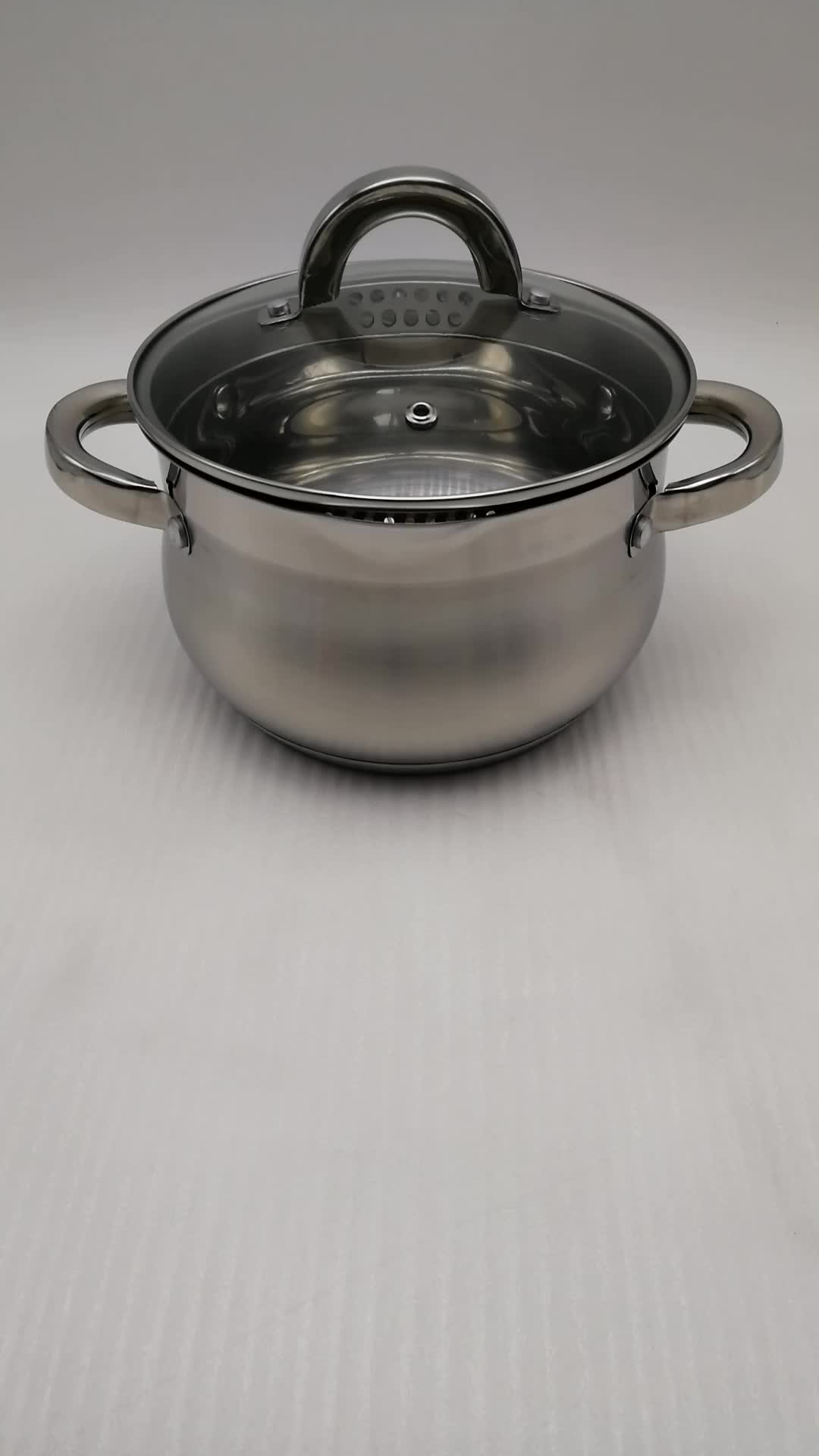 Stainless steel belly shape casserole with pouring lips