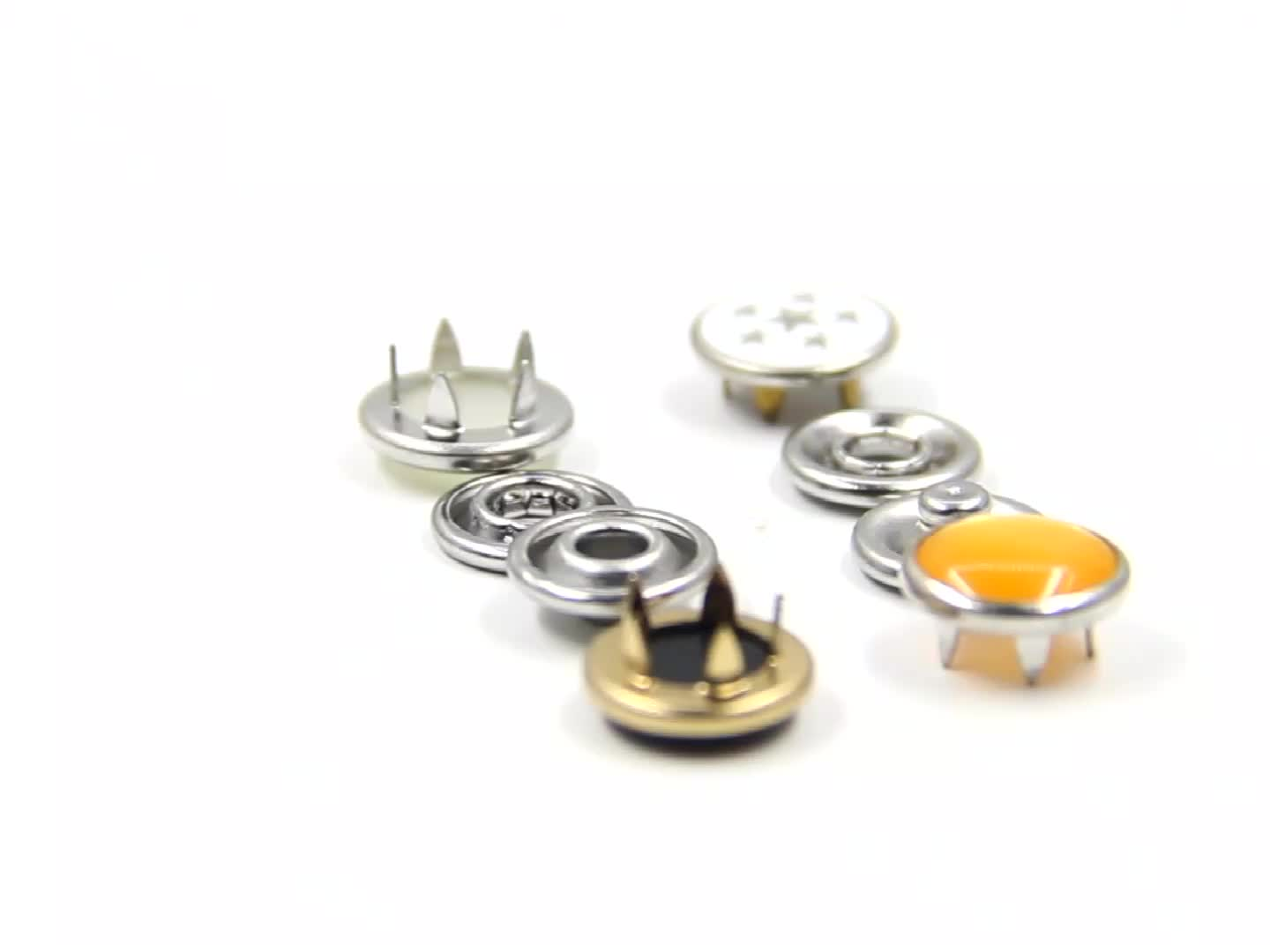 Custom Pearl Metal Prong Ring Snap Button for baby clothing