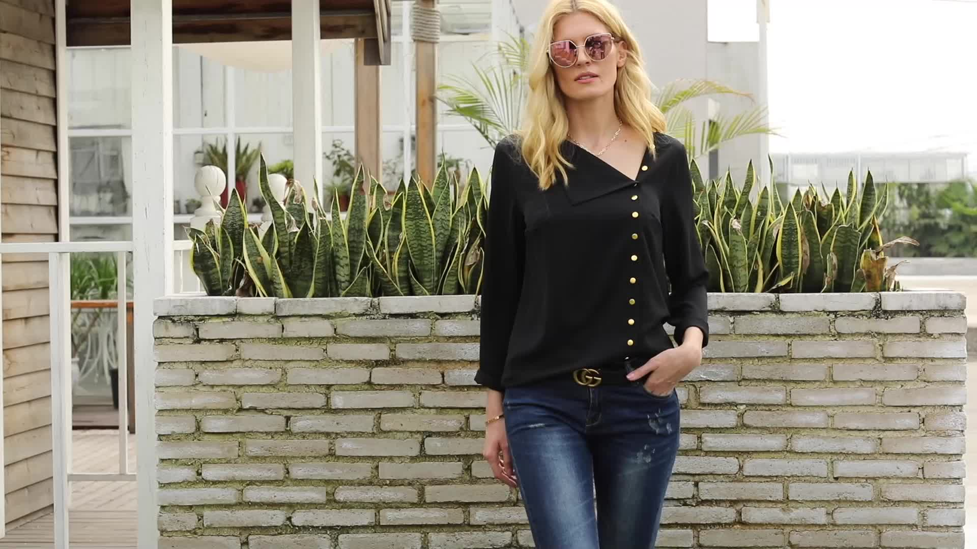 Women Solid Roll Sleeve Button Detail Shirt Loose Fit Casual Blouse Tops