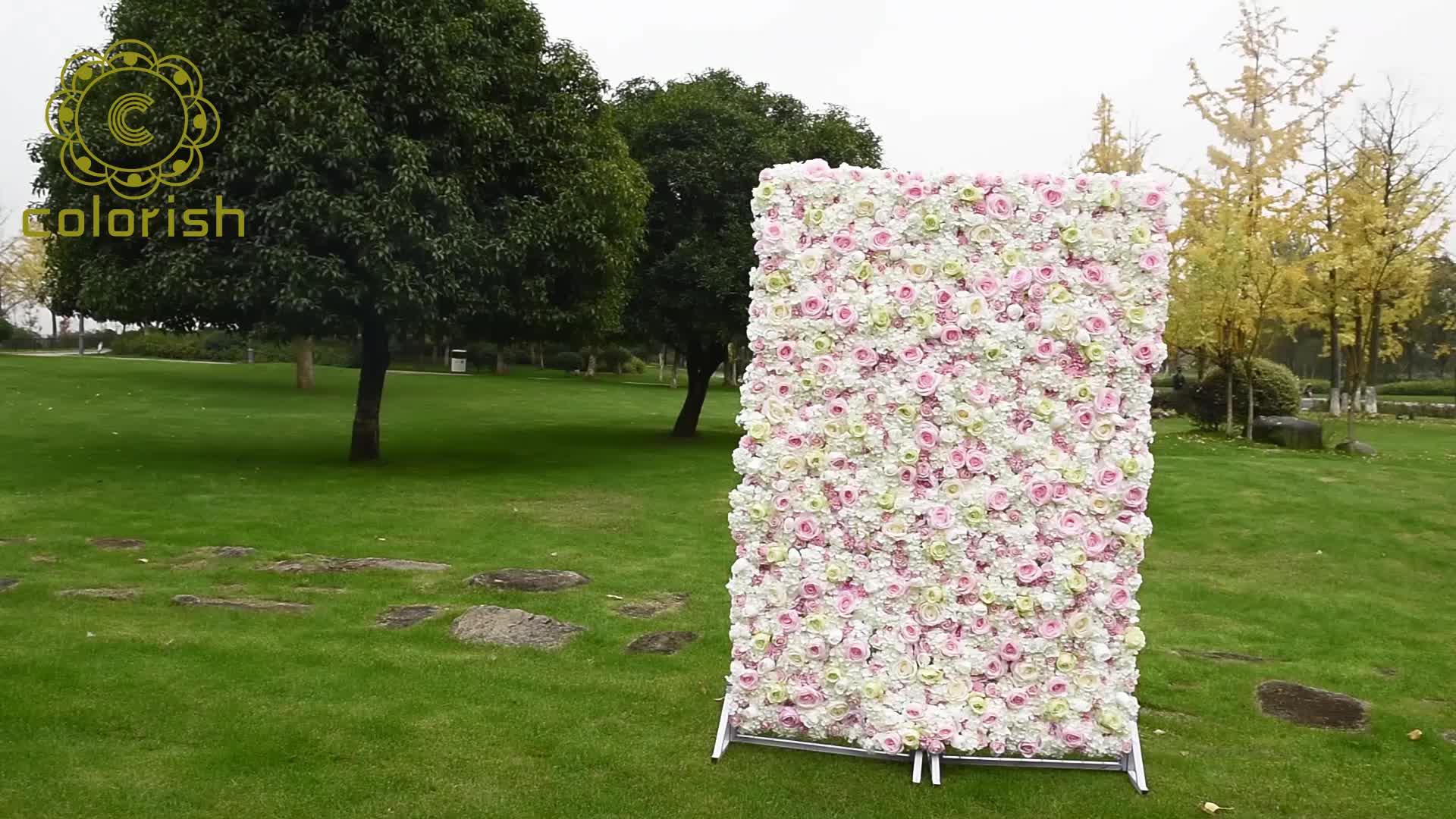Hot bán mix màu rose flower tường backdrop xt-nhân tạo hoa cưới tường