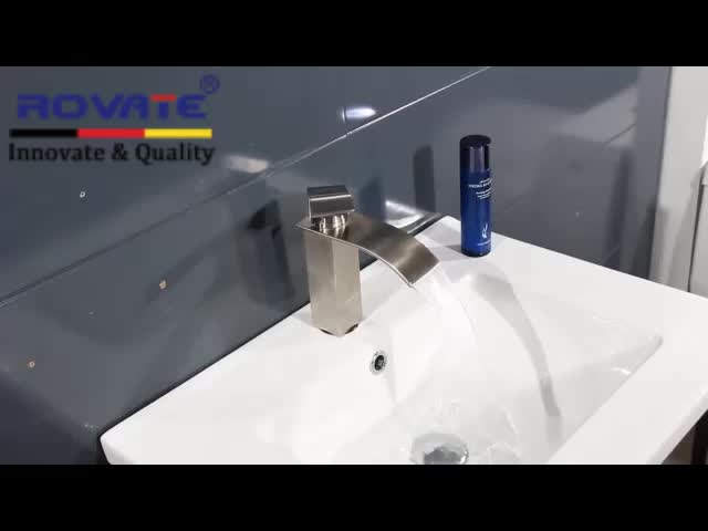 ROVATE Brass Waterfall Basin Faucet, Hot and Cold Water Faucet