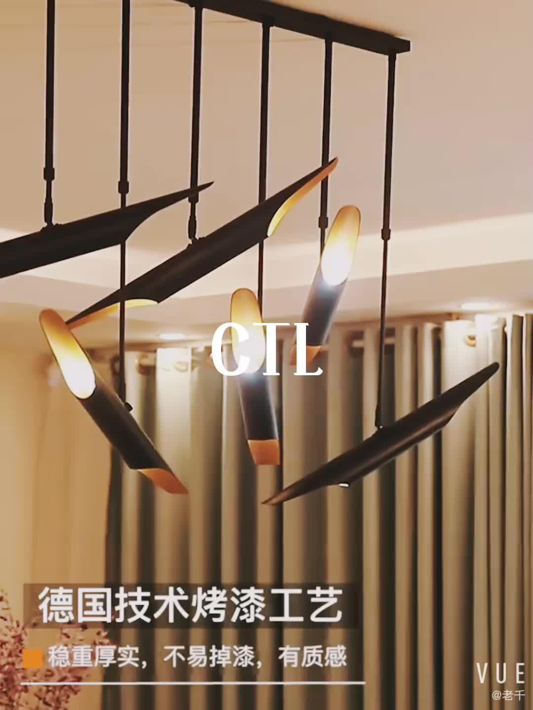 The new simple aluminum pipe pendant light designer decorative hanging lamp gold E14 LED  restaurant chandelier