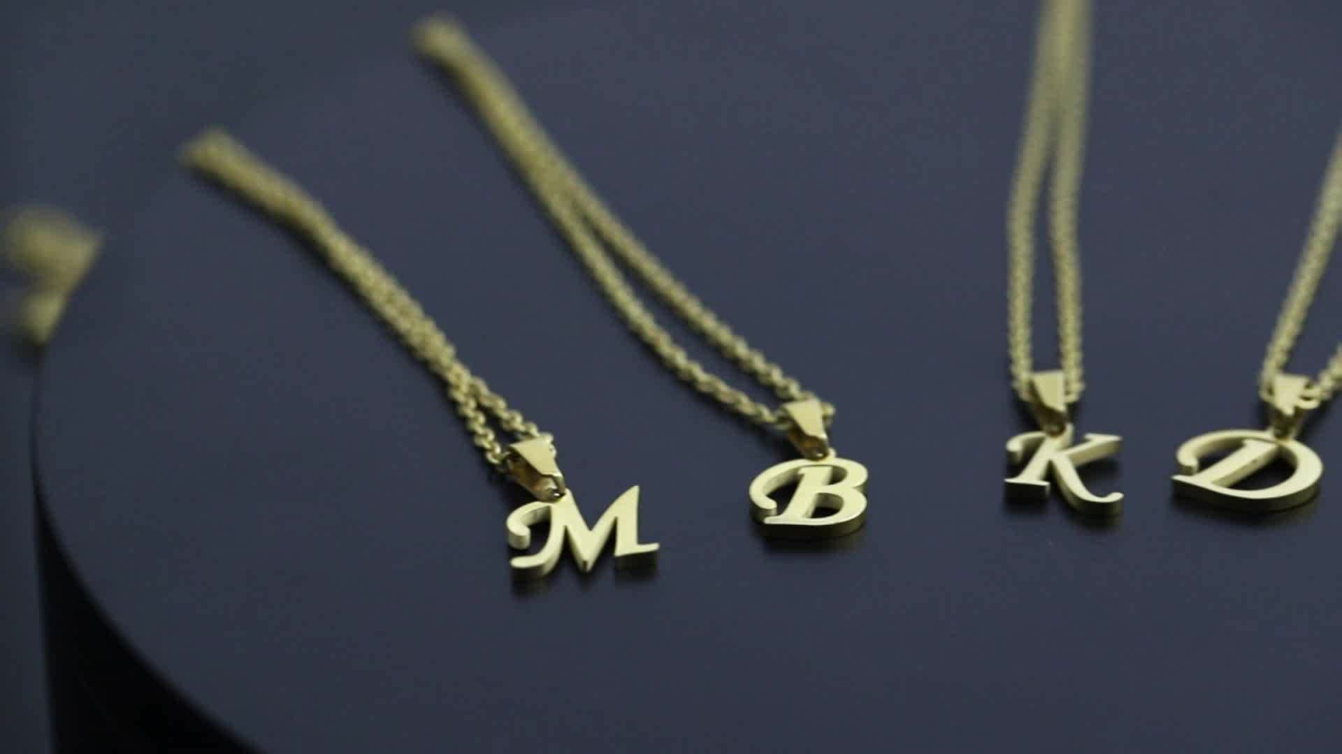 Fashion Jewellery Stainless Steel Pendant Gold Plated Alphabet Custom Initial Letter Necklace