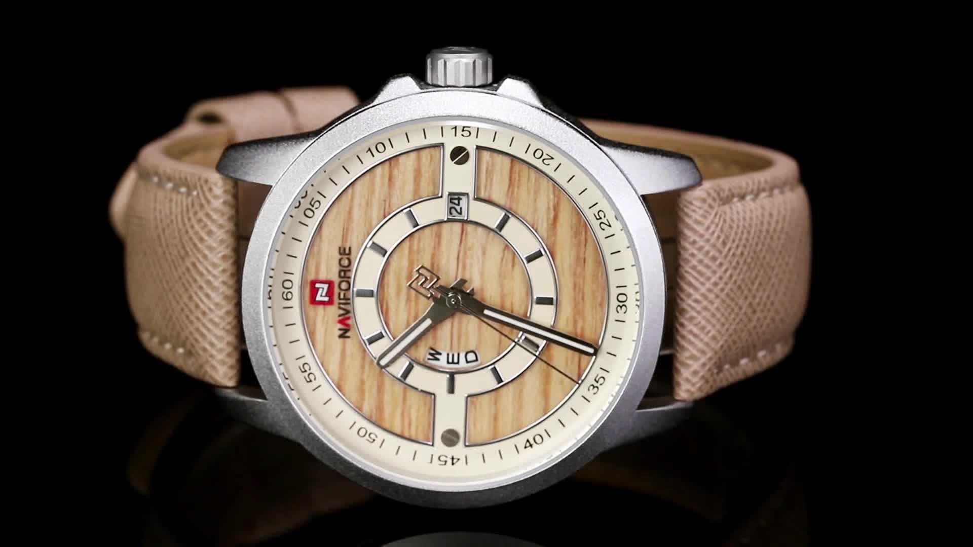 Naviforce 9151 man Waterproof  relojes hombre masculino wood grain  japan Movement  watch official store brand owner