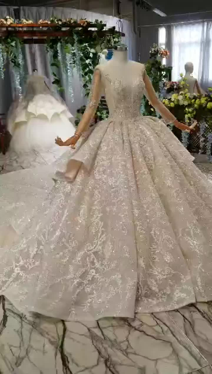 Jancember AHTL497 2019 Gorgeous Beaded Long Sleeve Lace Applique Ball Gown Wedding Dresses with Handwork Bridal Gown