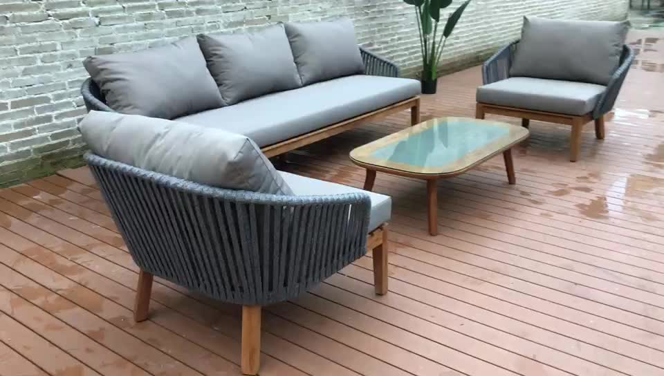Best selling in the Middle East Teak wood sofa hotel outdoor furniture outdoor patio furniture outdoor rope sofa set garden sofa