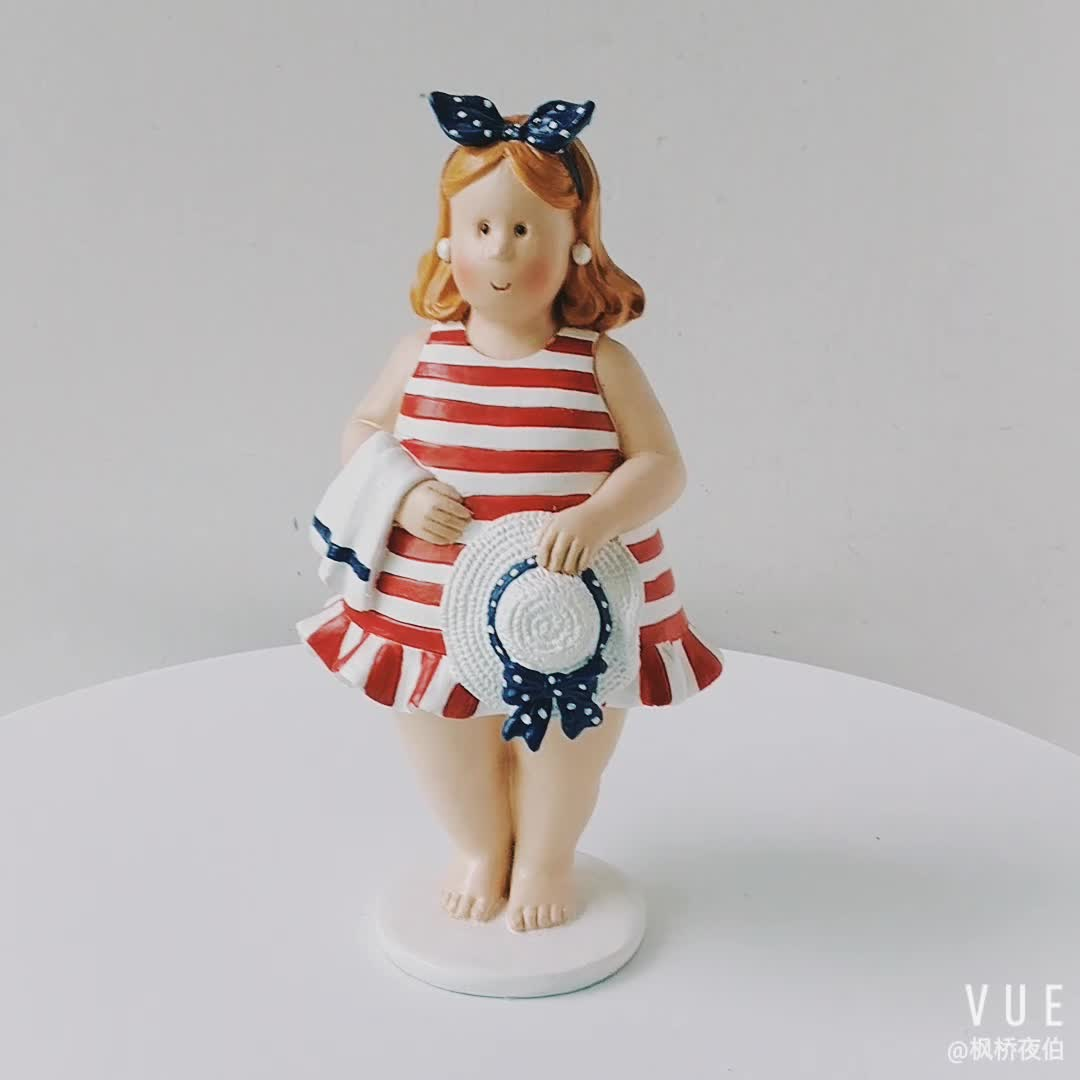 Nautical Decoration Polyresin Fat Woman Figurine in Red Swimming Suit Resin Lady figurine Tabletop Decoration