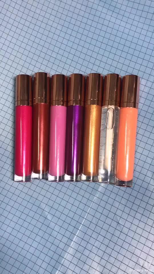 Kleine moq shiny großhandel flüssige ihre besitzen keine logo 7 farben glänzenden glänzend lipgloss kit make-up