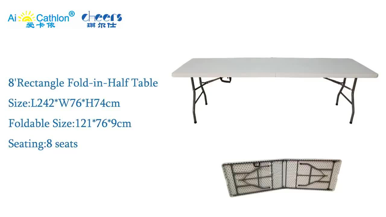 Easy Carrying 8ft Plastic Portable Folding Table for Outdoor BBQ White Fold-in-Half Table