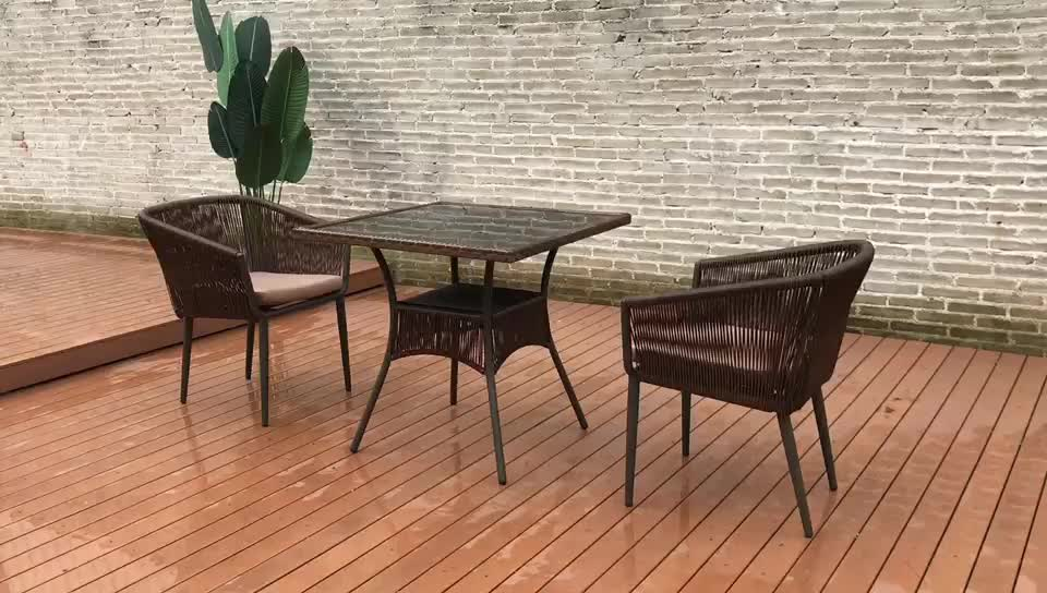 PE Rattan chair and table set outdoor  furniture garden wholesale dining set  cheap wicker rattan chair set