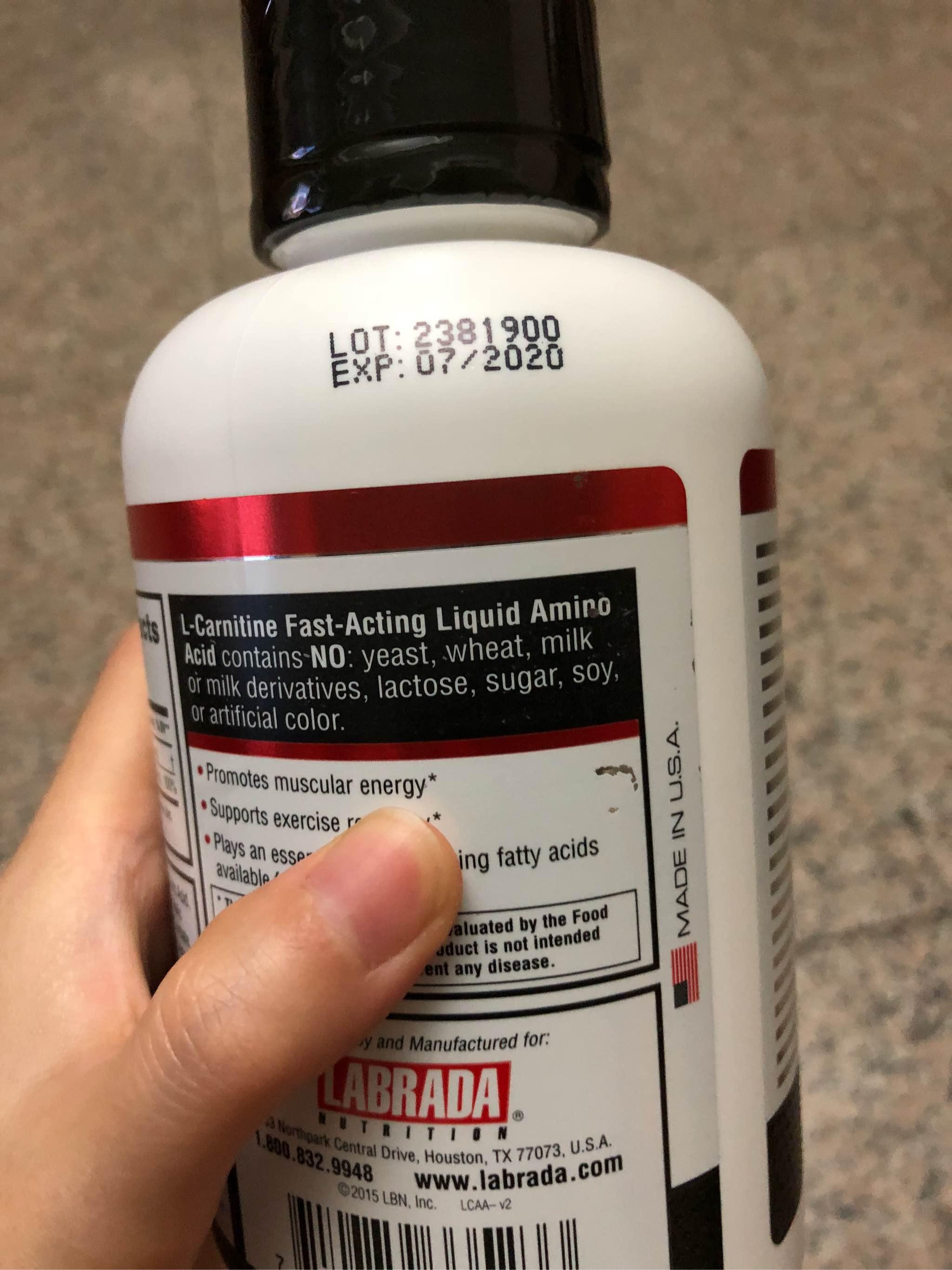 美国Labrada液体左旋肉碱使用中,正规安全