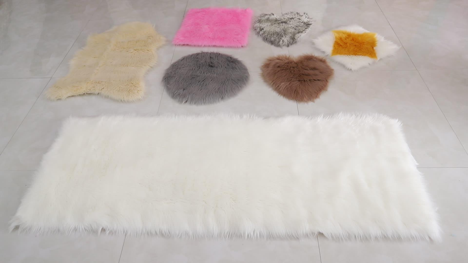¡Novedad de 2018! alfombras de piel de oveja blanca pura de felpa alfombra de piel falsa