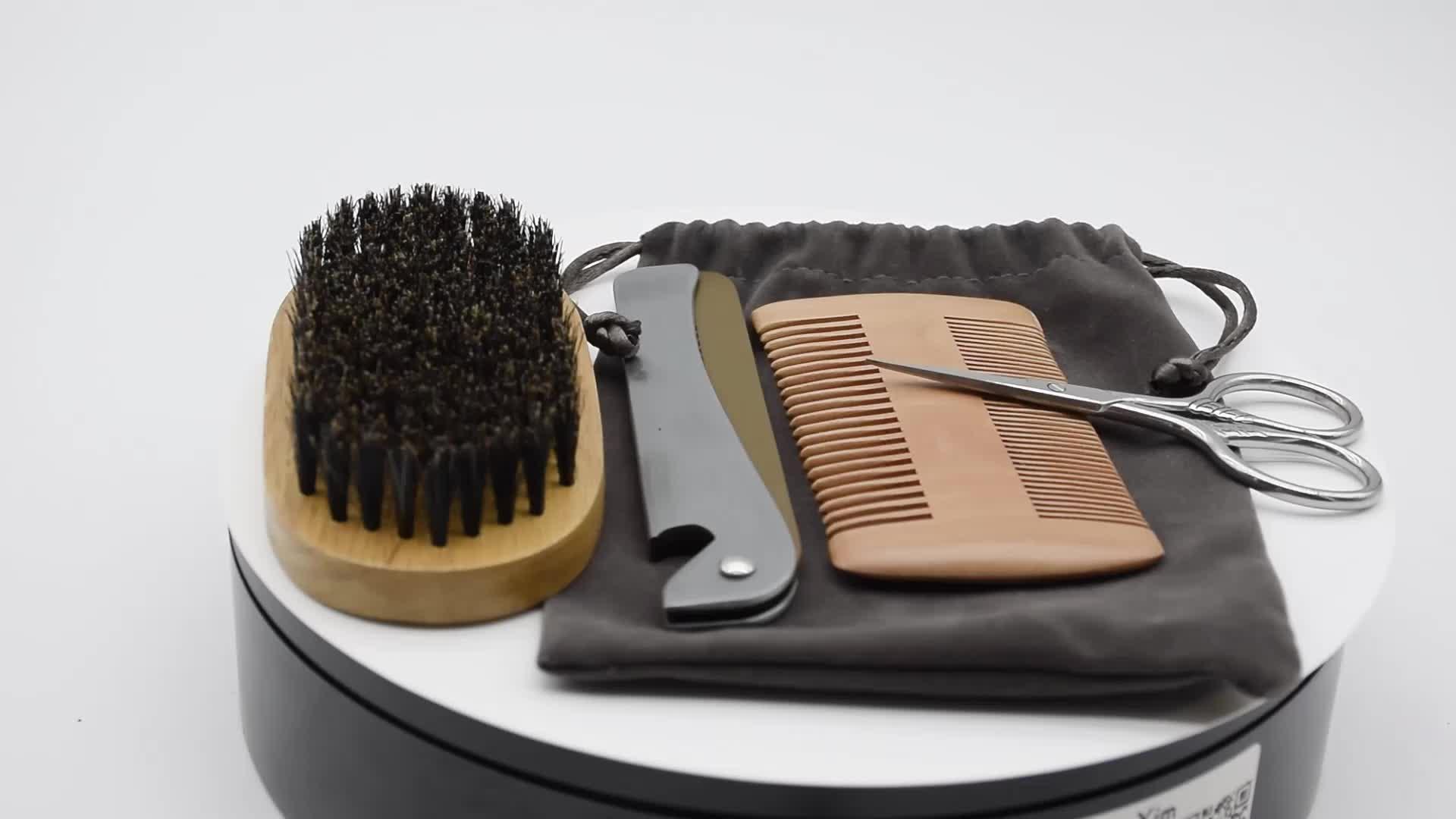 Wholesale 4pcs Wooden Foldable Beard Comb And Brush Set