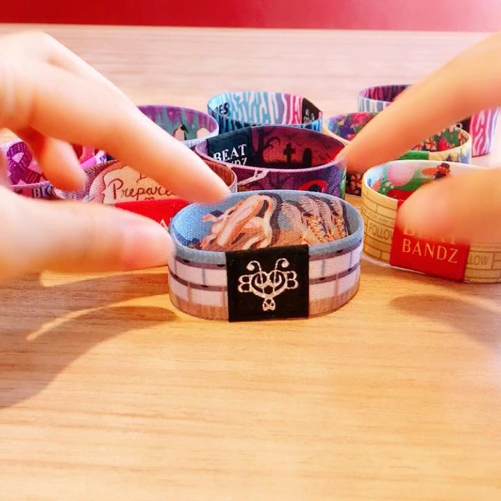 Fashionlable evento personalizzato festival tessuto braccialetto braccialetti elastici con stampa a sublimazione
