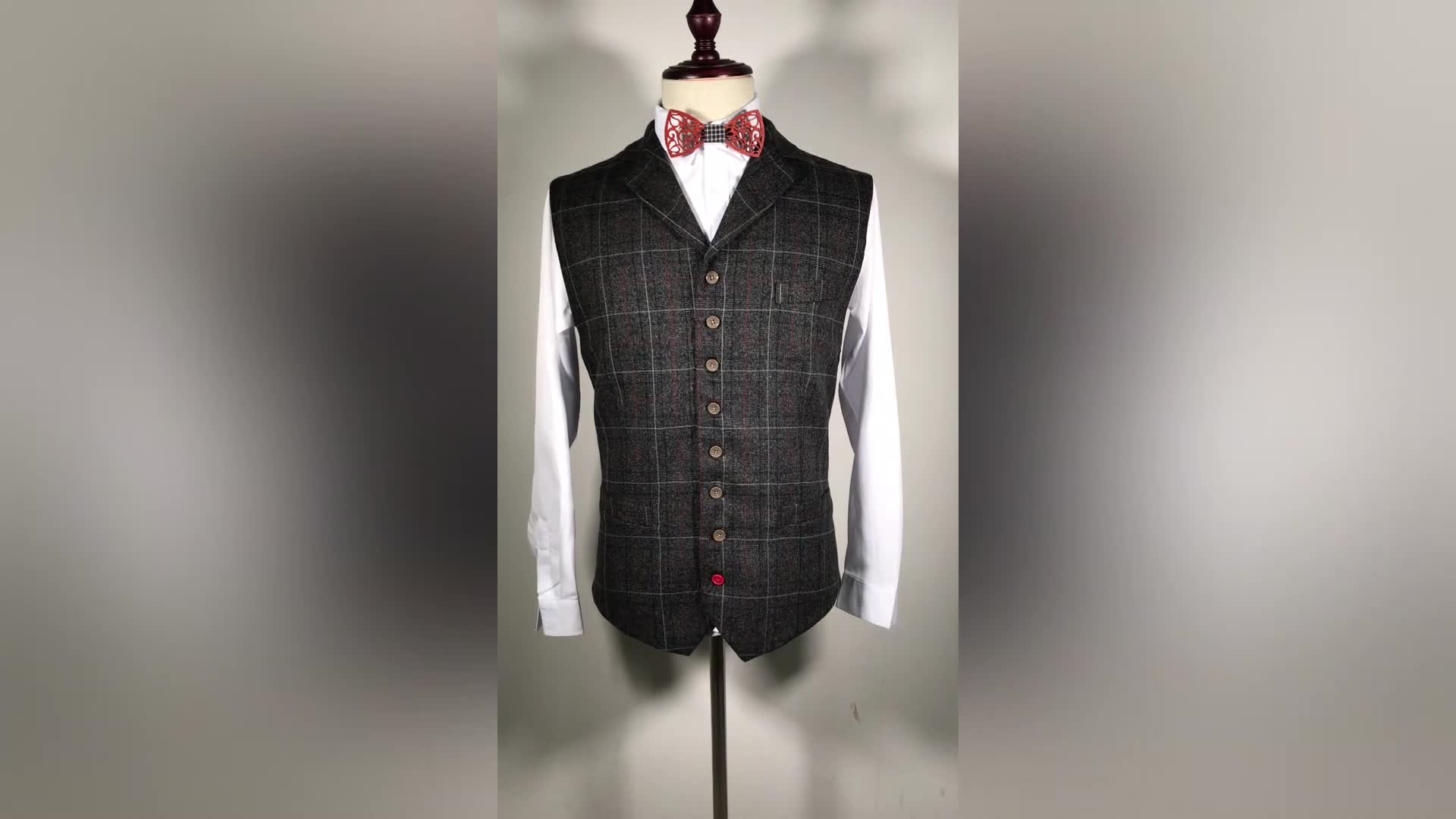 Latest Suit Styles Checked Pattern Polyester Waist Coat For Mens Business
