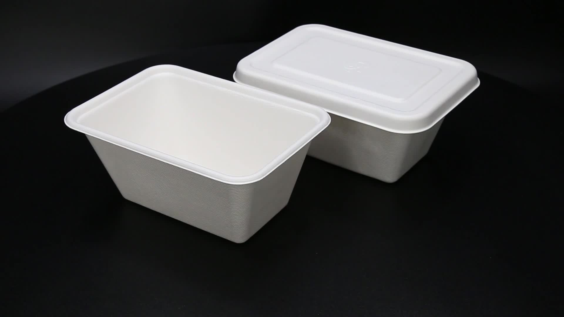750m Canne À Sucre Bagasse de Préparation de Repas Bento Sortir carré boîte à lunch Contenant des aliments avec couvercle