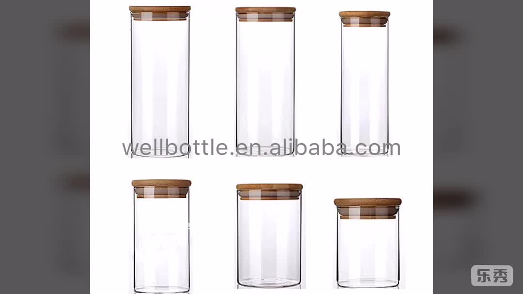 wholesale 100ml 150ml 200ml 250ml 300ml glass storage jar with bamboo lid for food GSJ-666AN