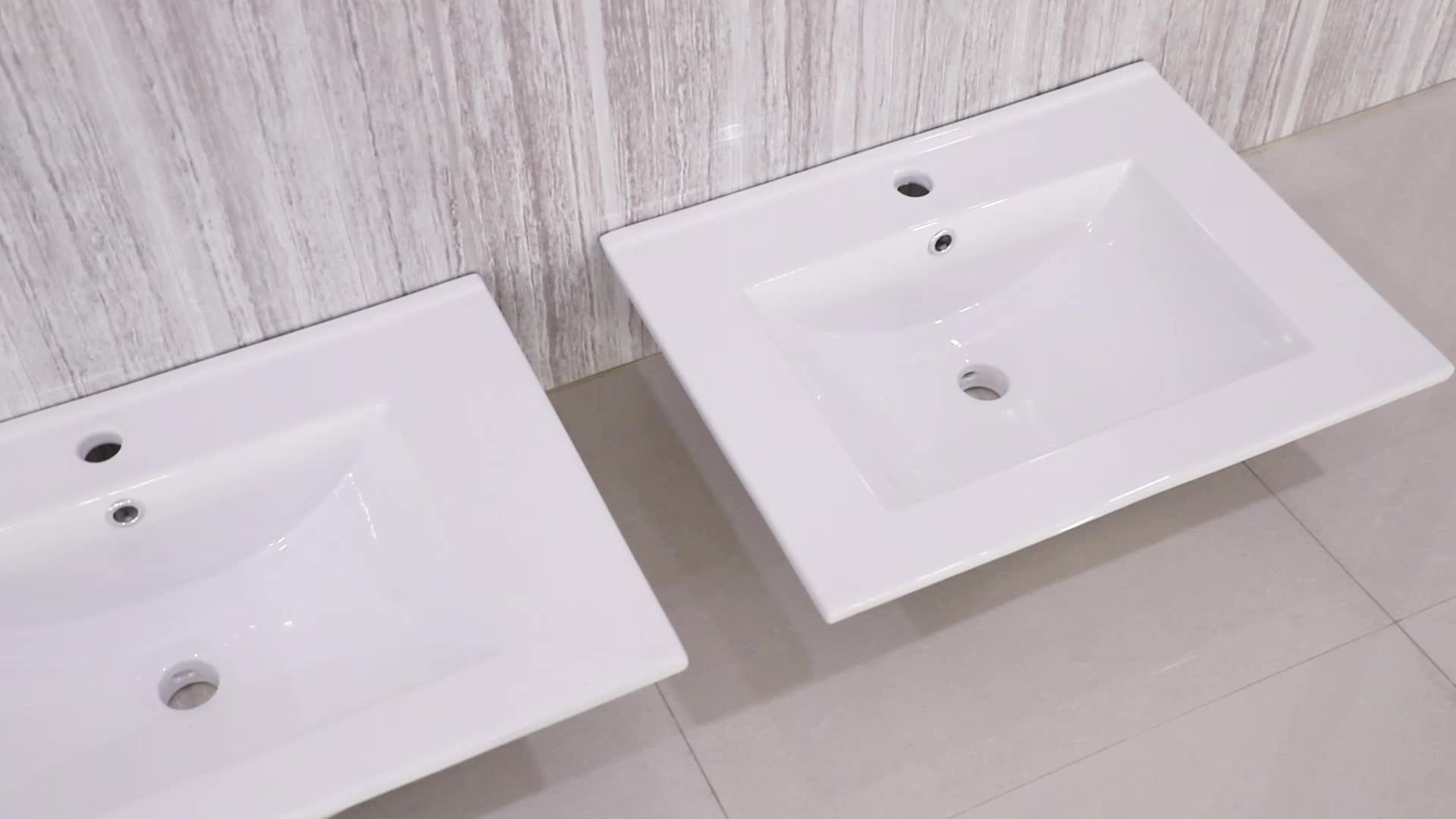 Desain terbaru ukuran besar porselen kabinet mencuci tangan basin
