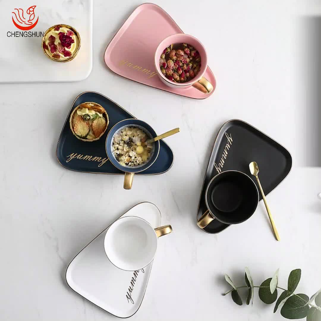 Wholesale Souvenir Tea Cup And Saucer Ceramic Tea Cup With Snack Plate Set Fot Gift