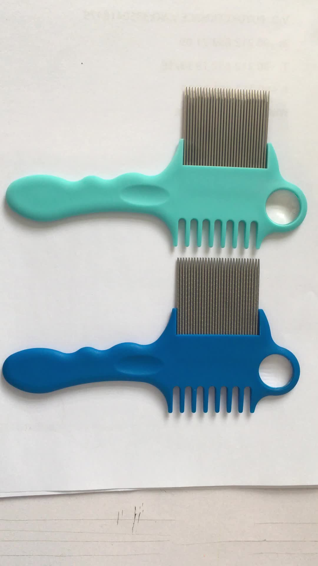 factory supplied long handle with A magnifying glass pet comb nit free head lice comb