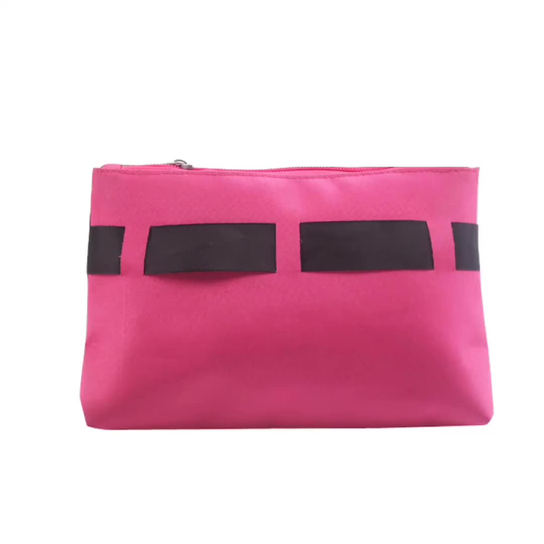 Customize Made Polyester Cosmetic Zipper Pouch Beauty Makeup Travel Bag