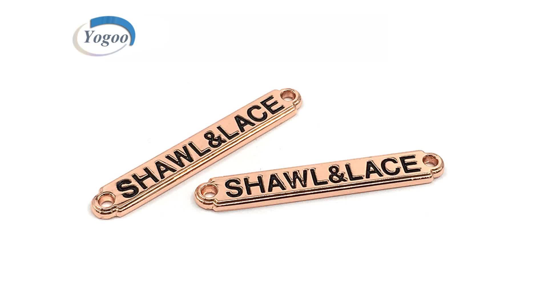 Curved Design Silver Custom Engraved Brand Logo Metal Logo Plate for Clothing