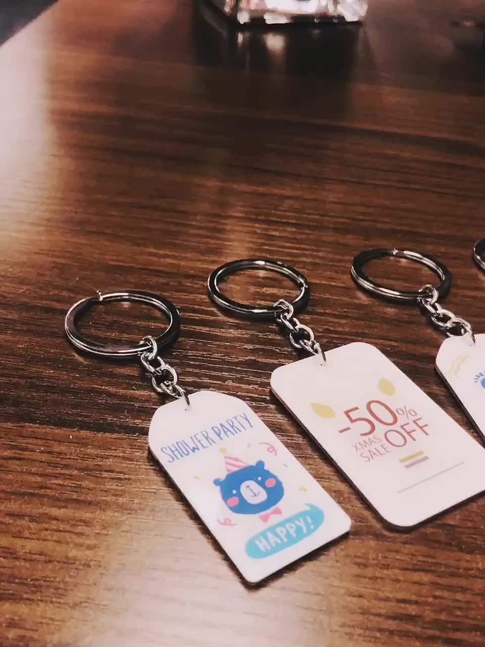 VOGRACE fashion cheap custom cartoon anime acrylic ins card printing plastic clear transparent key ring with your own design