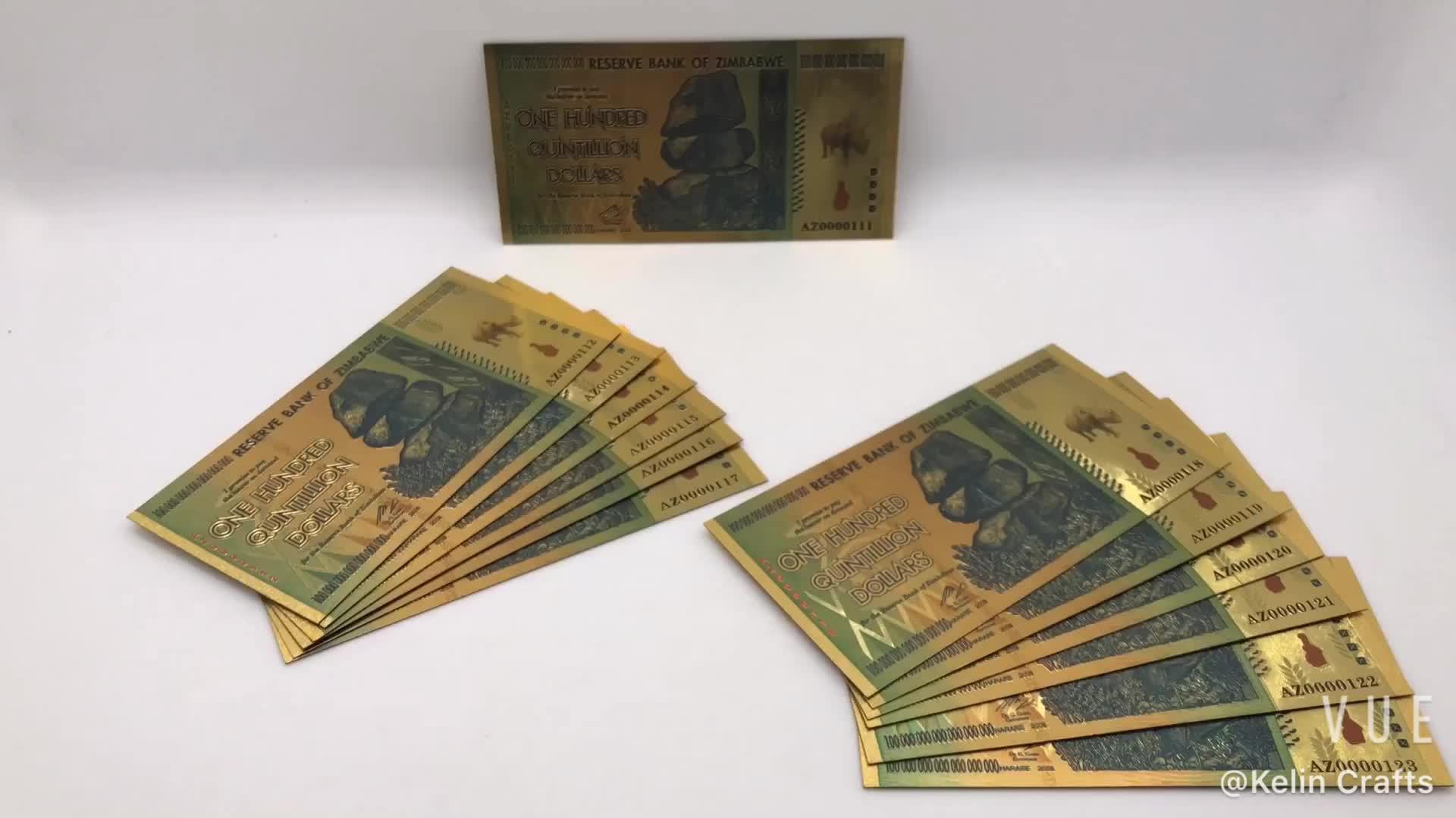 Носорог сто Quintillion долларов Зимбабве 24 К золото банкноты с безопасности водяной знак для сувенира и коллекция подарки