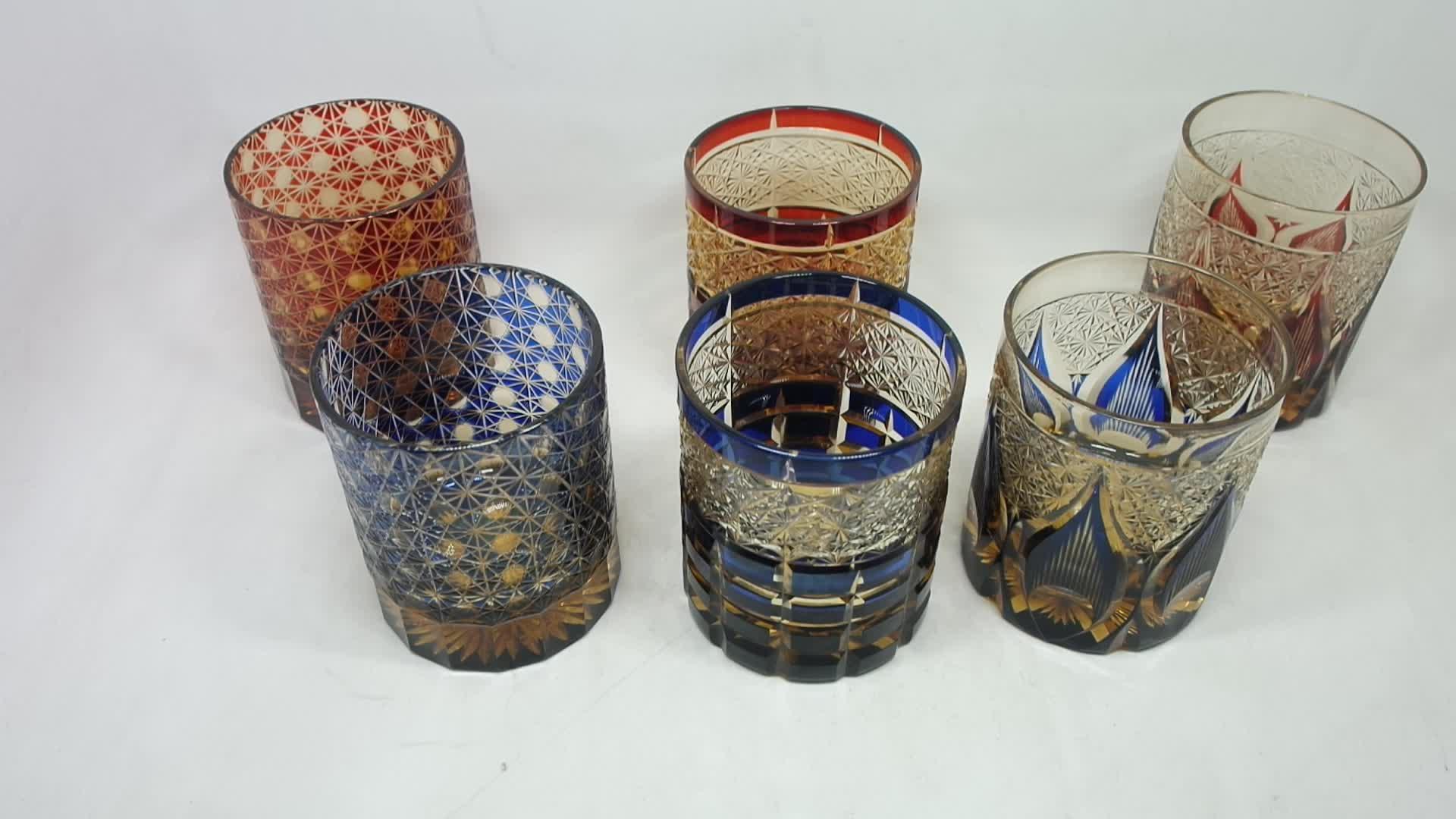 Stocked high quality  Edo kiriko Japanese handmade glass cup Bohemia cup