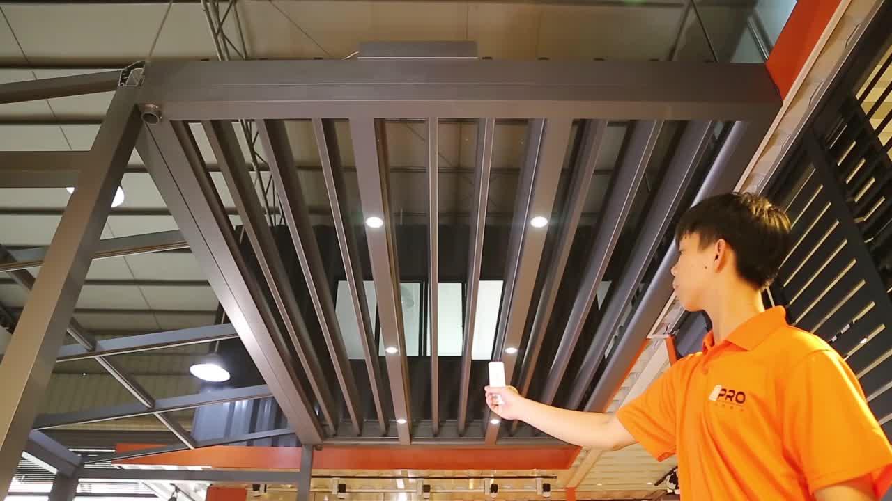Kullanılan otomatik gölgelik pergola alüminyum su geçirmez pergola gölgelik çatı güneşlik fiyat açık sistemi çin