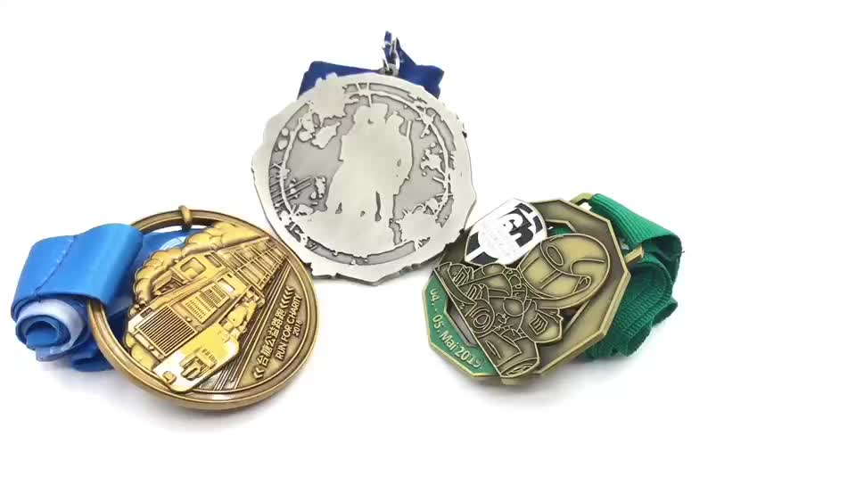OEM sports antique silver bronze  gold matte medal