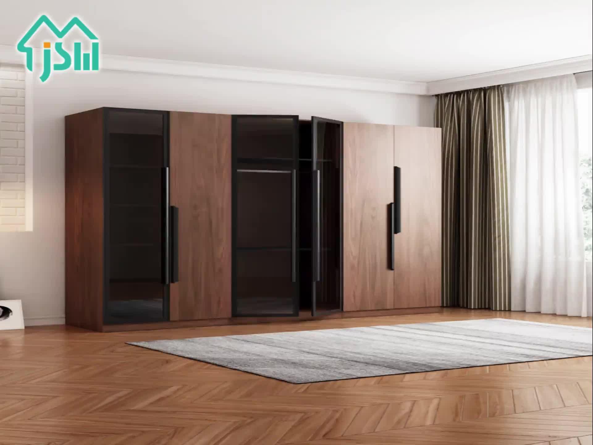 Лидер продаж одежда шкаф комбинации дешевые стеклянная дверь деревянный спальня шкаф