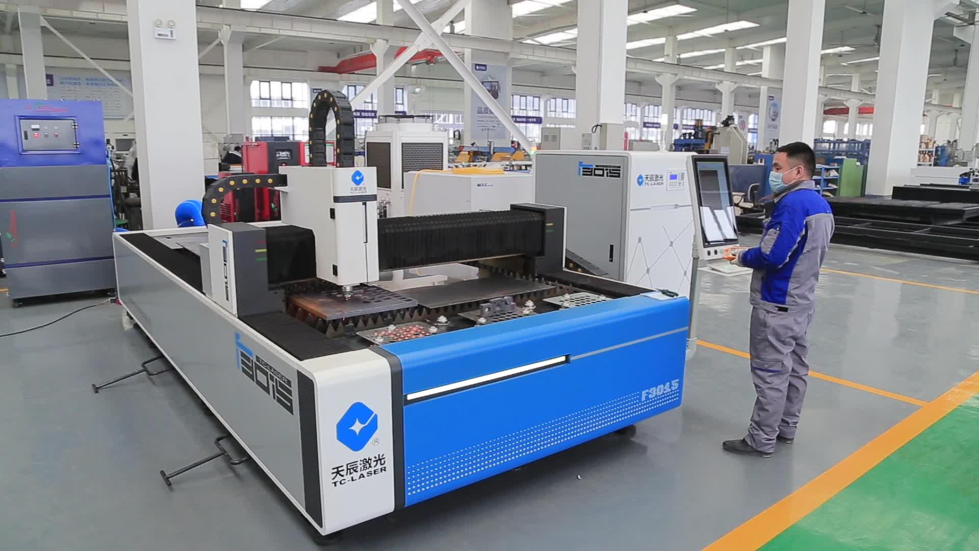 CNC Çift Çalışma Masaları Profesyonel Metal Sac Işleme lazer kesme makinesi Model TC-F3015T
