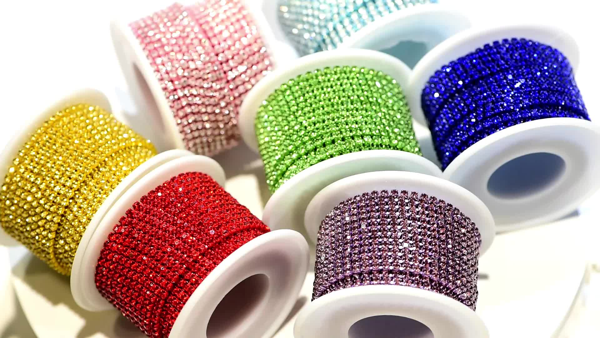 New Fashion Glass Crystal Rhinestones Earrings Chain Sew on Trimming Close Cup Rhinestone Chains for Shoes Boots Decoration