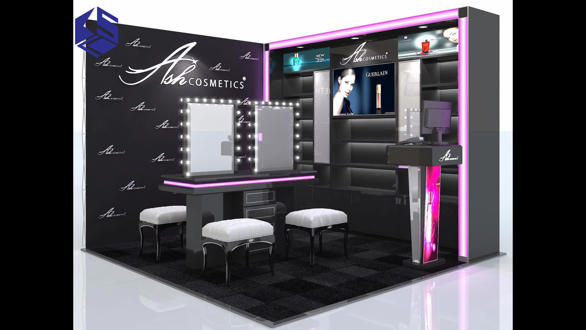 Customized Professional Makeup Station Cosmetic Display With Lights