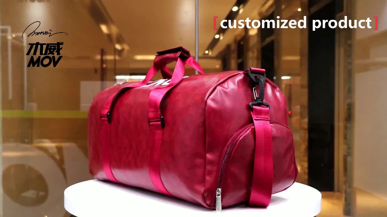 wholesale Large Capacity travel bags Comfort Pu Leather sport duffle Messenger custom gym bag with shoe compartment Exercise bag