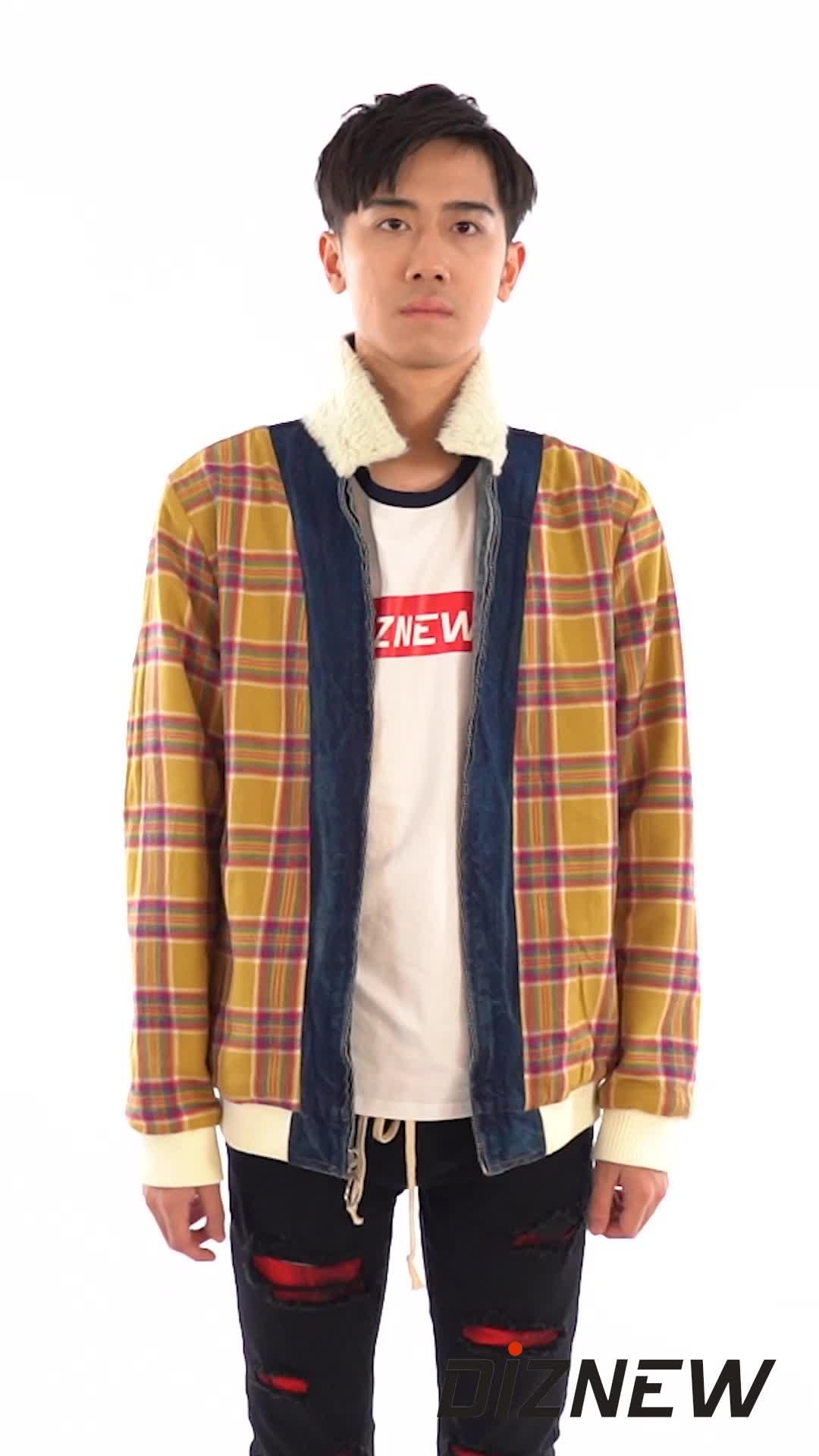 DiZNEW À Manches Longues À Carreaux Shearling Réversible Chemises jeans Veste Hommes