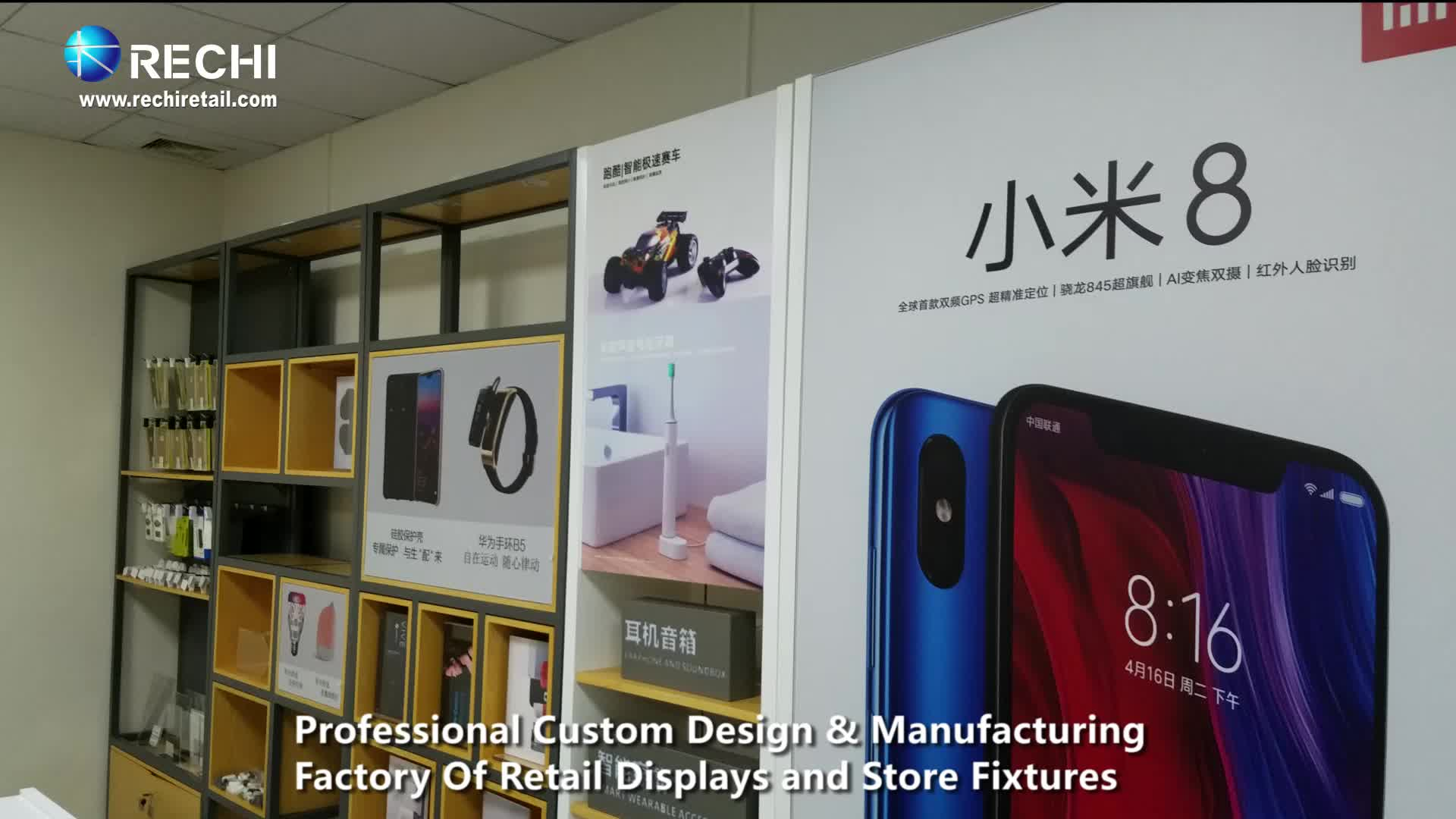 RECHI Custom Fashion Wood Retail Display Showcase for Electronic Accessory in Retail Electronic Store