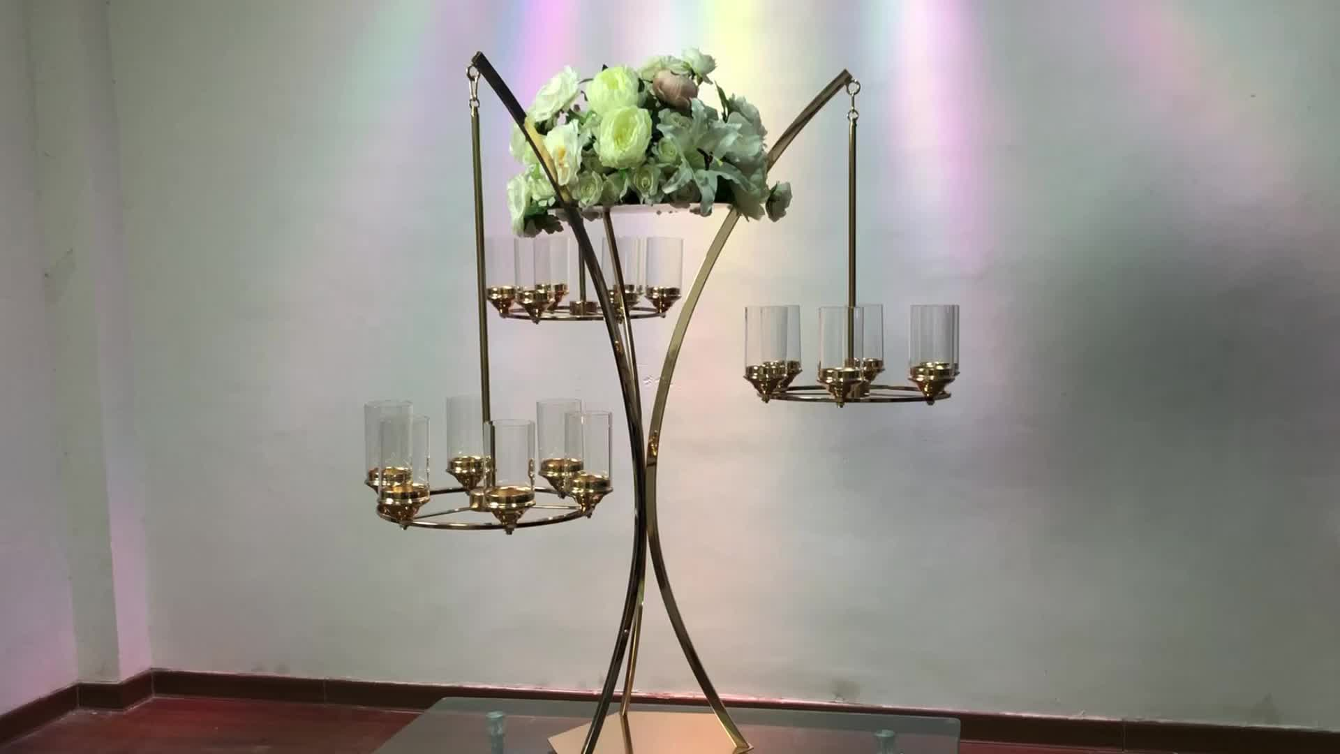 New wedding centerpiece tall metal flower stand with three branch hanging candle holder