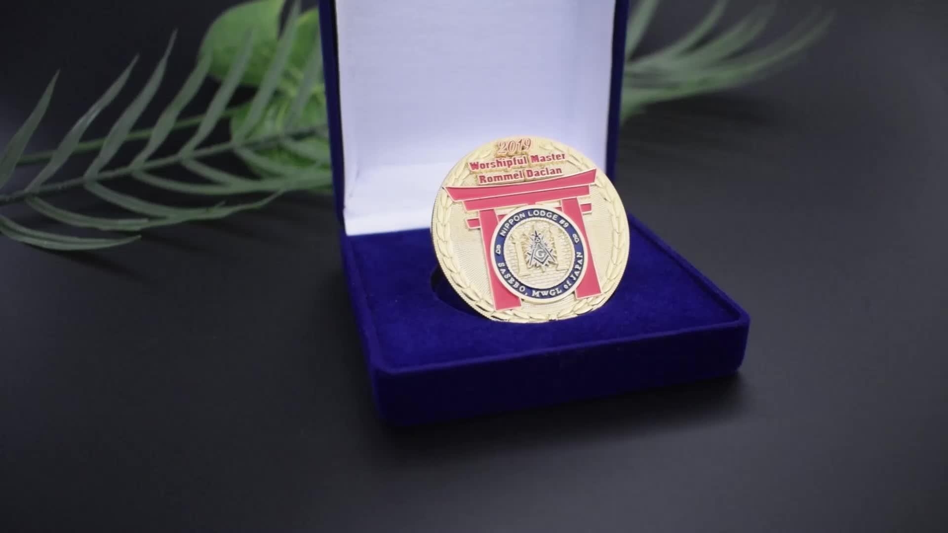 Promotion en gros personnalisé antique plaqué or émail doux en métal militaire en métal pièce de défi