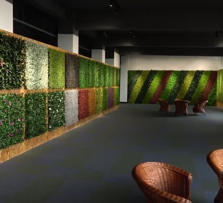 """Yapay Çit Yaprakları Asılı Sahte Bitkiler Duvar 20 """"X 20"""" Plastik Dikey Bahçe UV Geçirmez Gizlilik Backyard Düğün süslemeleri"""