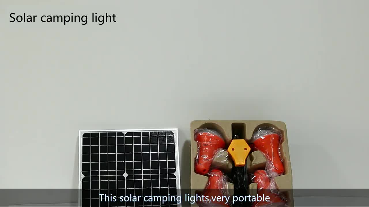 Multi-function Rechargeable LED solar emergency light system for security and camping
