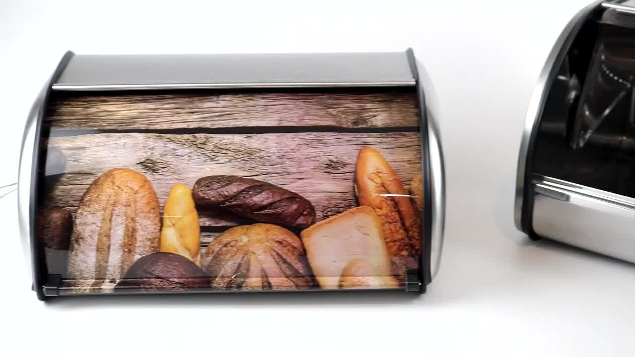 De acero inoxidable pan Bin/caja de almacenamiento/caja de pan con ventana para Cocina