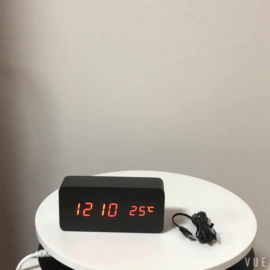 Bureau numérique LED En Bois Réveil Avec Affichage De La Température