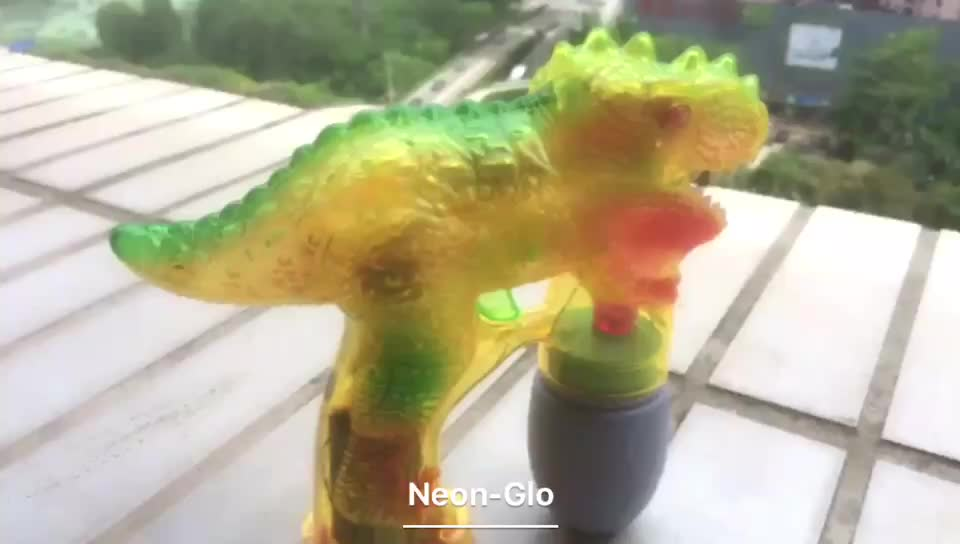 LED Light Up Dinosaur Soap Bubble Gun Blower